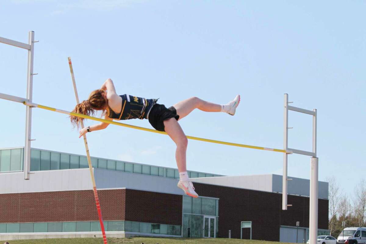 Manistee's Kendal Waligorski clears a personal-record 8 feet in the pole vault Friday en route to second place in the event. The Chippewas went on to win the Lakes 8 Conference championship as a team. (Dylan Savela/News Advocate file photo)