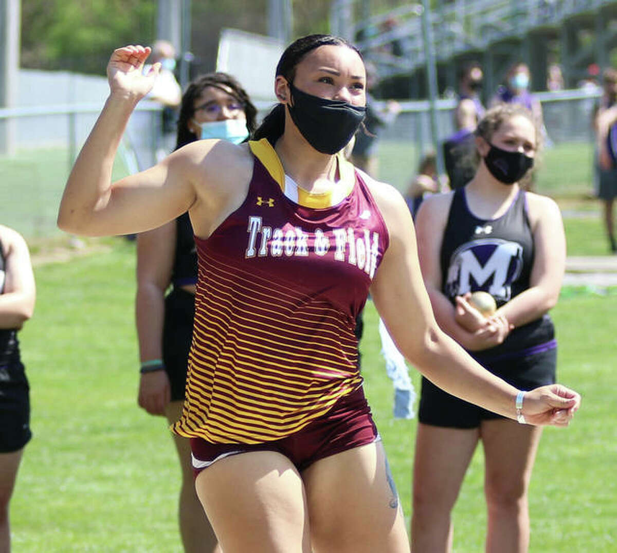 EA-WR's Jayden Ulrich, shown watching her throw of 50-2 in the shot put at the Triad Invite on May 5, exceeded that PR on Friday at the Collinsville Invite with a state-record toss of 51 feet, 11 inches. Ulrich broke a 13-year-old state record, regardless of class, by more than 10 inches.