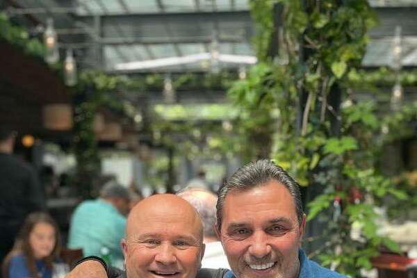 Former Major League baseball player and Greenwich resident Lee Mazzilli, right, with Tony Capasso at Tony's at the J House last week.