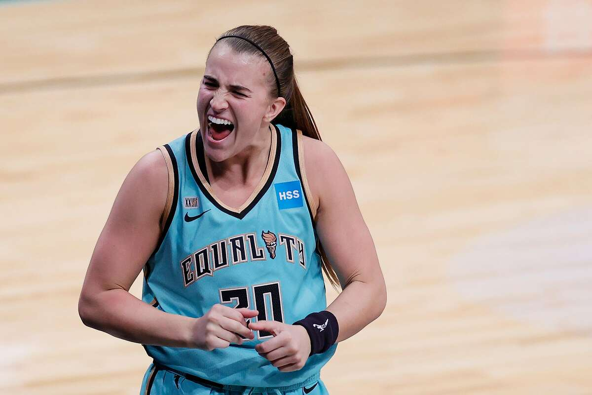 NEW YORK, NEW YORK - MAY 14: Sabrina Ionescu #20 of the New York Liberty reacts after making a three-point basket in the final seconds of the second half against the Indiana Fever at Barclays Center on May 14, 2021 in the Brooklyn borough of New York City. The Liberty won 90-87.