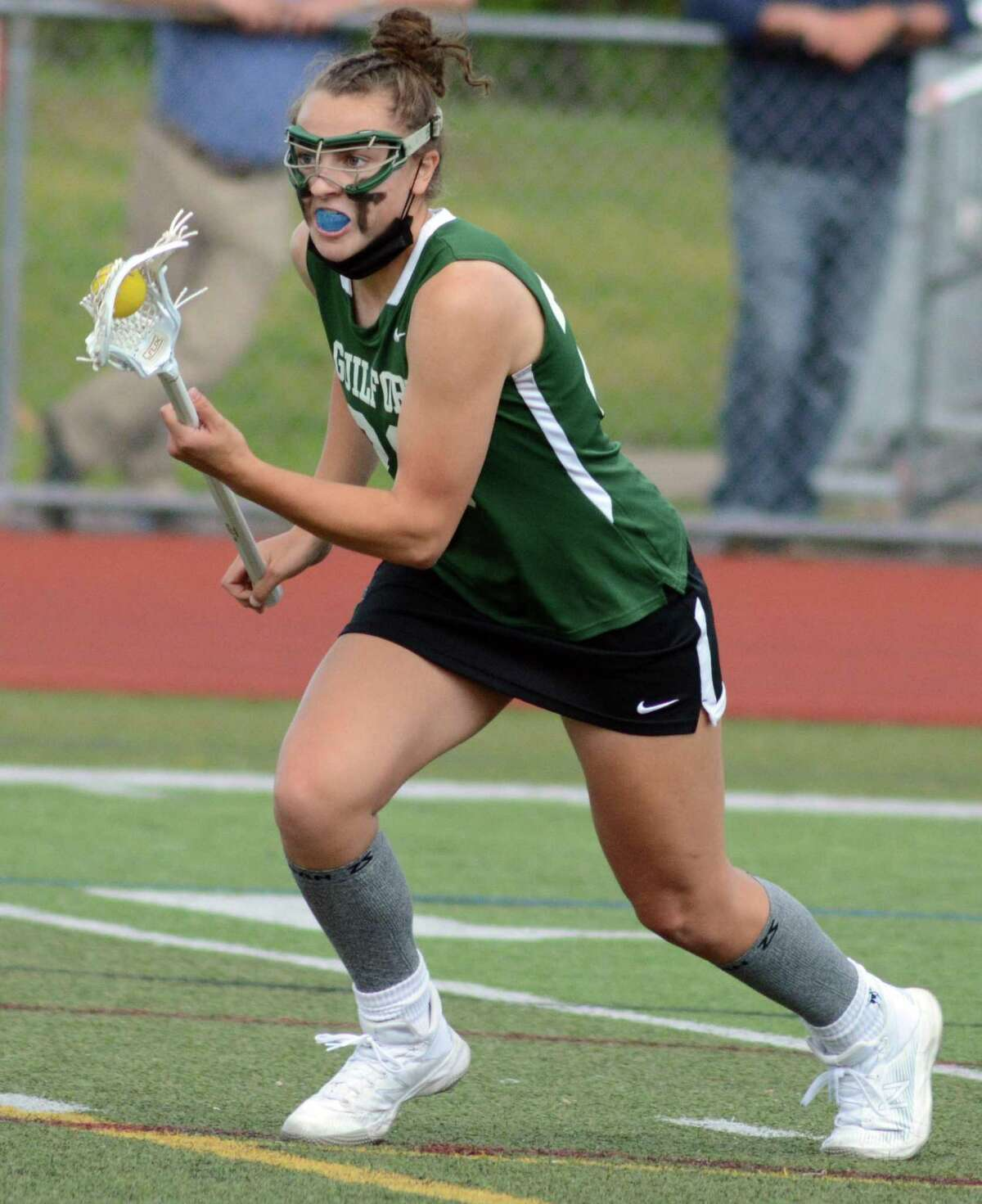 Guilford's Maddie Epke looks to attack during Friday's game against Cheshire.