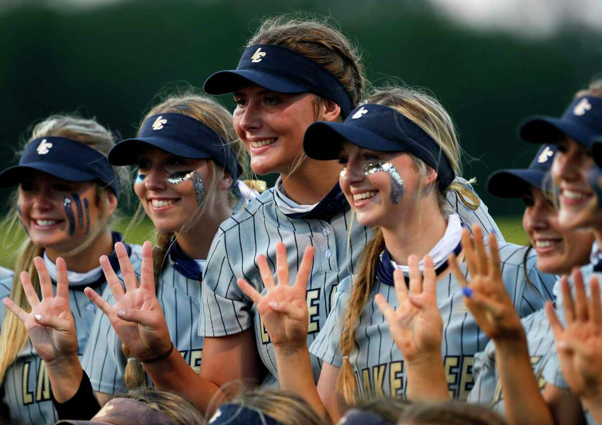 Starting pitcher Emiley Kennedy (13) and the rest of the Lake Creek team are heading to round four after Kennedy's no-hitter in the team's 16-0 win over Magnolia West during a one-game Region III-5A quarterfinal game at Magnolia High School, Friday, May 14, 2021, in Magnolia.