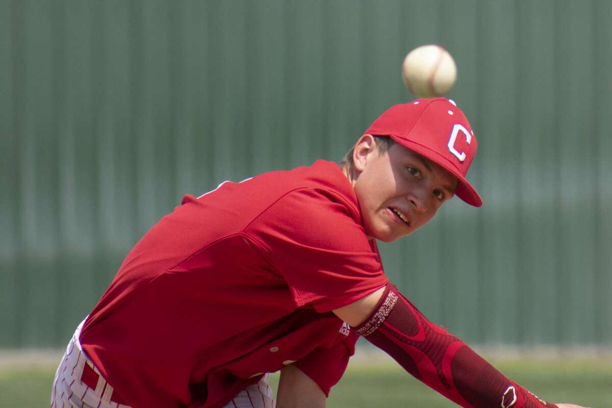 Coahoma's Ky Kemper delivers a pitch against Crane during District 5-3A play this past season.