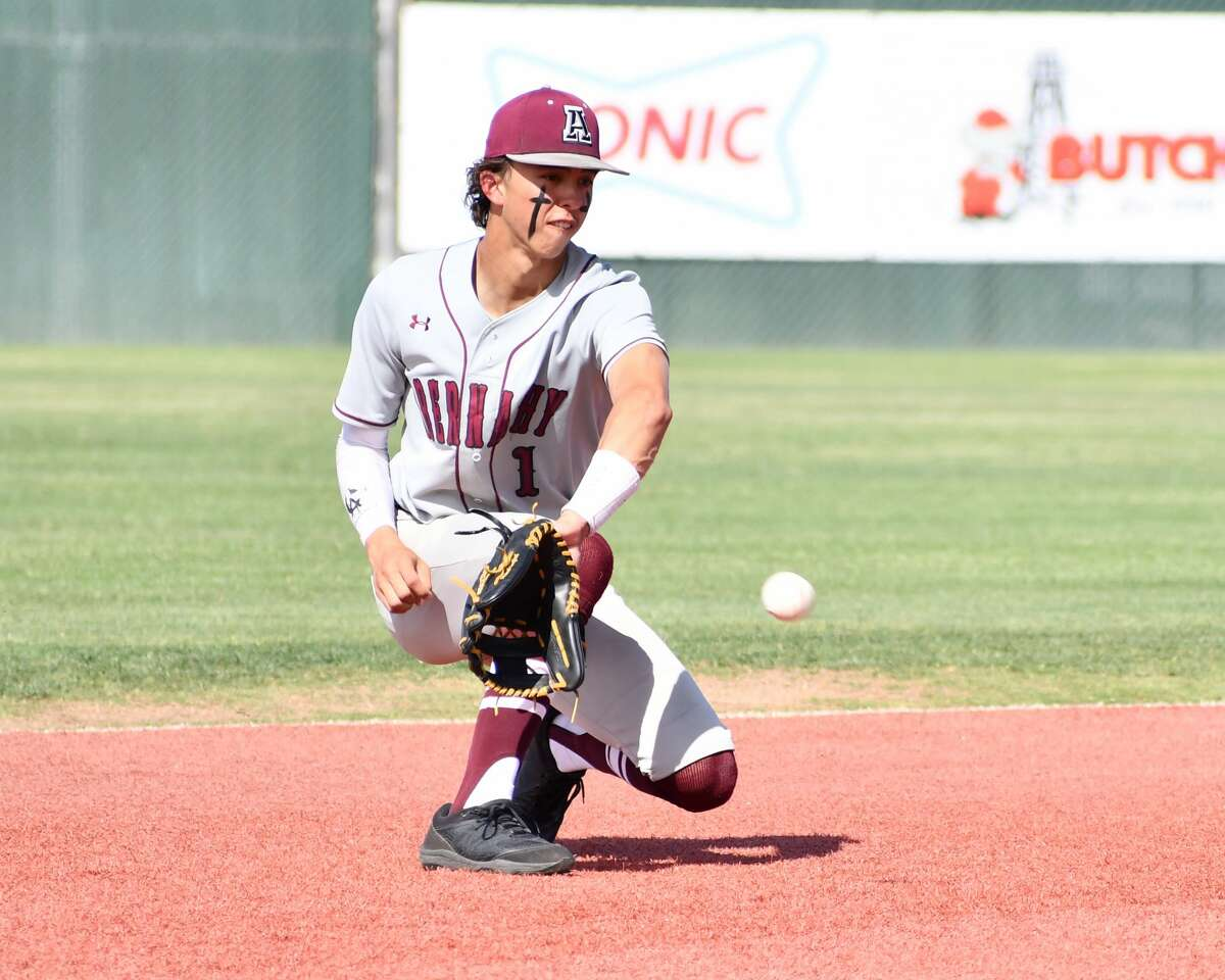Abernathy's Bradyn Daniel attempts to field a hopper during the area round of the Class 3A UIL baseball playoffs against Littlefield on Friday at Lubbock-Cooper in Woodrow.