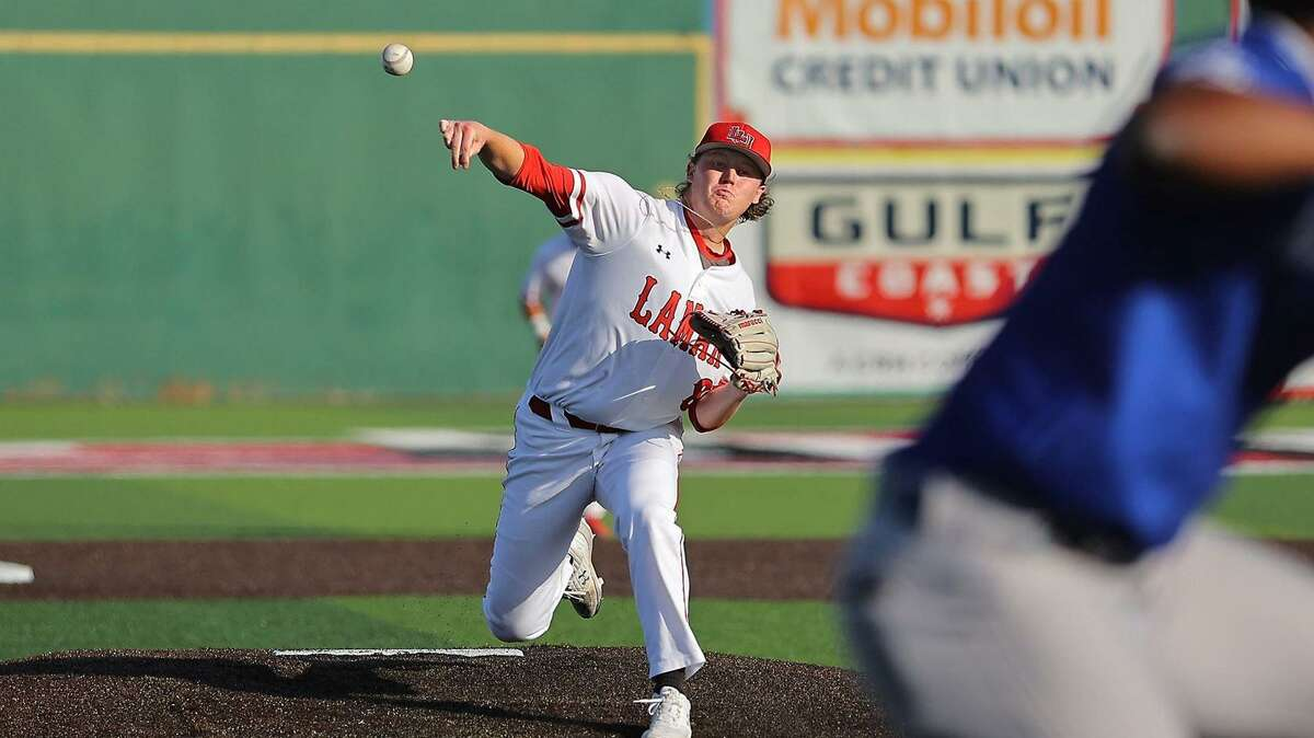 Trevin Michael throws a pitch Friday night against New Orleans. Lamar won the game, 6-0.