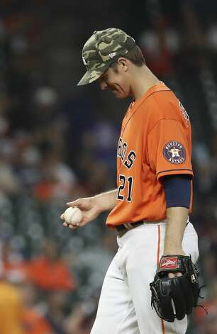 Houston Astros starting pitcher Zack Greinke (21) smiles during the seventh inning of an MLB game Friday, May 14, 2021, at Minute Maid Park in Houston. Photo: Jon Shapley/Staff Photographer / © 2021 Houston Chronicle