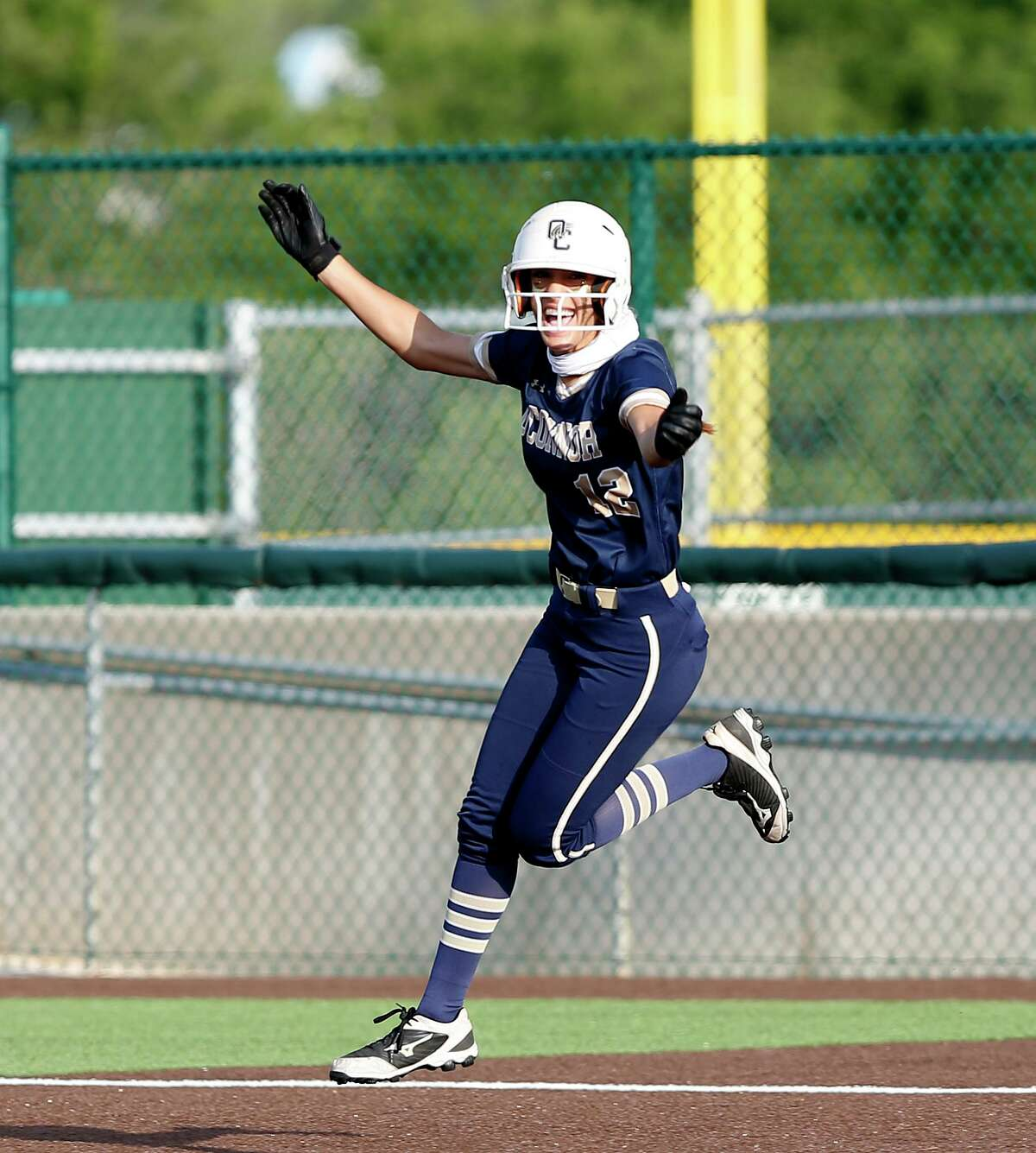O'Connor Jada Munoz #12 reacts after hitting a two run homer in the third inning. Game 2 O'Connor vs. Brennan third-round Class 6A softball playoff at Northside Field No. on Friday, May 14, 2021 at Northside Field #2.