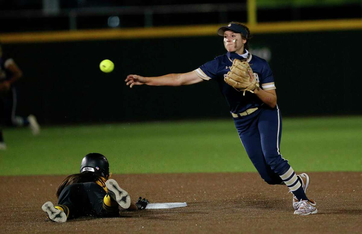 O'Connor Leighann Goode #7 completes a double play in the 8th inning to end the game. Game 2 O'Connor vs. Brennan third-round Class 6A softball playoff at Northside Field No. on Friday, May 14, 2021 at Northside Field #2.