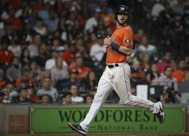 Houston Astros right fielder Kyle Tucker (30) scores during the third inning of an MLB game Friday, May 14, 2021, at Minute Maid Park in Houston. Photo: Jon Shapley/Staff Photographer / © 2021 Houston Chronicle