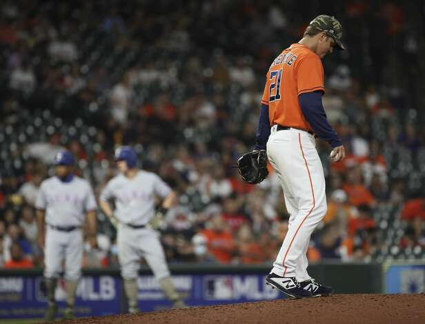 Houston Astros starting pitcher Zack Greinke (21) walks back to the mound during the fourth inning of an MLB game Friday, May 14, 2021, at Minute Maid Park in Houston. Photo: Jon Shapley/Staff Photographer / © 2021 Houston Chronicle