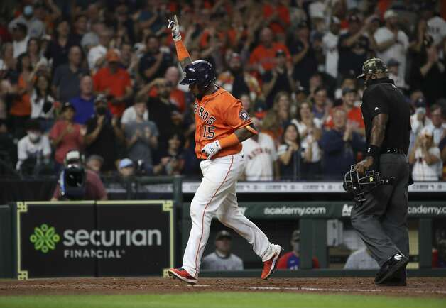 Houston Astros catcher Martin Maldonado (15) celebrates after hitting a two-run home run during the fifth inning of an MLB game Friday, May 14, 2021, at Minute Maid Park in Houston. Photo: Jon Shapley/Staff Photographer / © 2021 Houston Chronicle