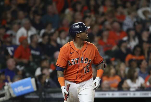 Houston Astros catcher Martin Maldonado (15) watches his home run ball during the fifth inning of an MLB game Friday, May 14, 2021, at Minute Maid Park in Houston. Photo: Jon Shapley/Staff Photographer / © 2021 Houston Chronicle
