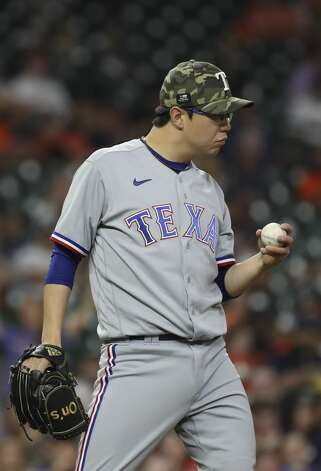 Texas Rangers relief pitcher Hyeon-Jong Yang (36) pitches during the third inning of an MLB game Friday, May 14, 2021, at Minute Maid Park in Houston. Photo: Jon Shapley/Staff Photographer / © 2021 Houston Chronicle