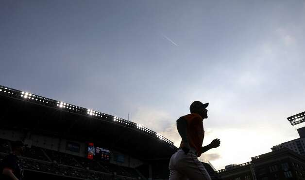 Houston Astros second baseman Robel Garcia (9) runs onto the field before a game between the Houston Astros and the Texas Rangers on Friday, May 14, 2021, at Minute Maid Park in Houston. Photo: Jon Shapley/Staff Photographer / © 2021 Houston Chronicle