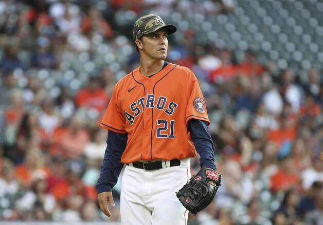 Houston Astros starting pitcher Zack Greinke (21) walks to the dugout during the first inning of an MLB game Friday, May 14, 2021, at Minute Maid Park in Houston. Photo: Jon Shapley/Staff Photographer / © 2021 Houston Chronicle