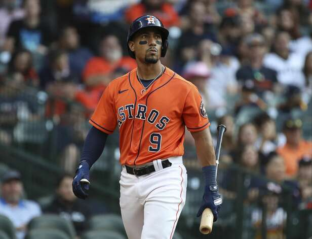 Houston Astros second baseman Robel Garcia (9) walks to the dugout after striking out during the first inning of an MLB game Friday, May 14, 2021, at Minute Maid Park in Houston. Photo: Jon Shapley/Staff Photographer / © 2021 Houston Chronicle