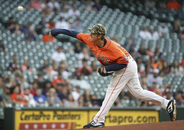 Houston Astros starting pitcher Zack Greinke (21) pitches during the first inning of an MLB game Friday, May 14, 2021, at Minute Maid Park in Houston. Photo: Jon Shapley/Staff Photographer / © 2021 Houston Chronicle