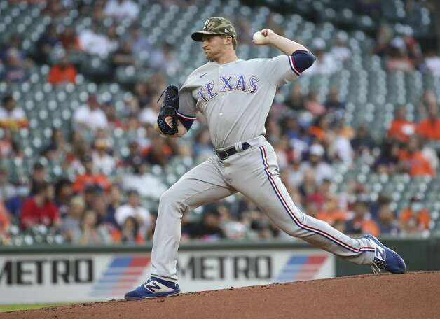 Texas Rangers starting pitcher Wes Benjamin (63) pitches during the first inning of an MLB game Friday, May 14, 2021, at Minute Maid Park in Houston. Photo: Jon Shapley/Staff Photographer / © 2021 Houston Chronicle