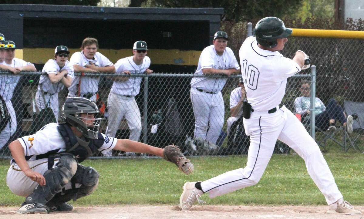 The Bad Axe and Laker varsity baseball teams split a doubleheader on Friday. Bad Axe took Gale 6-5 and Laker earned the split with an 8-4 victory.