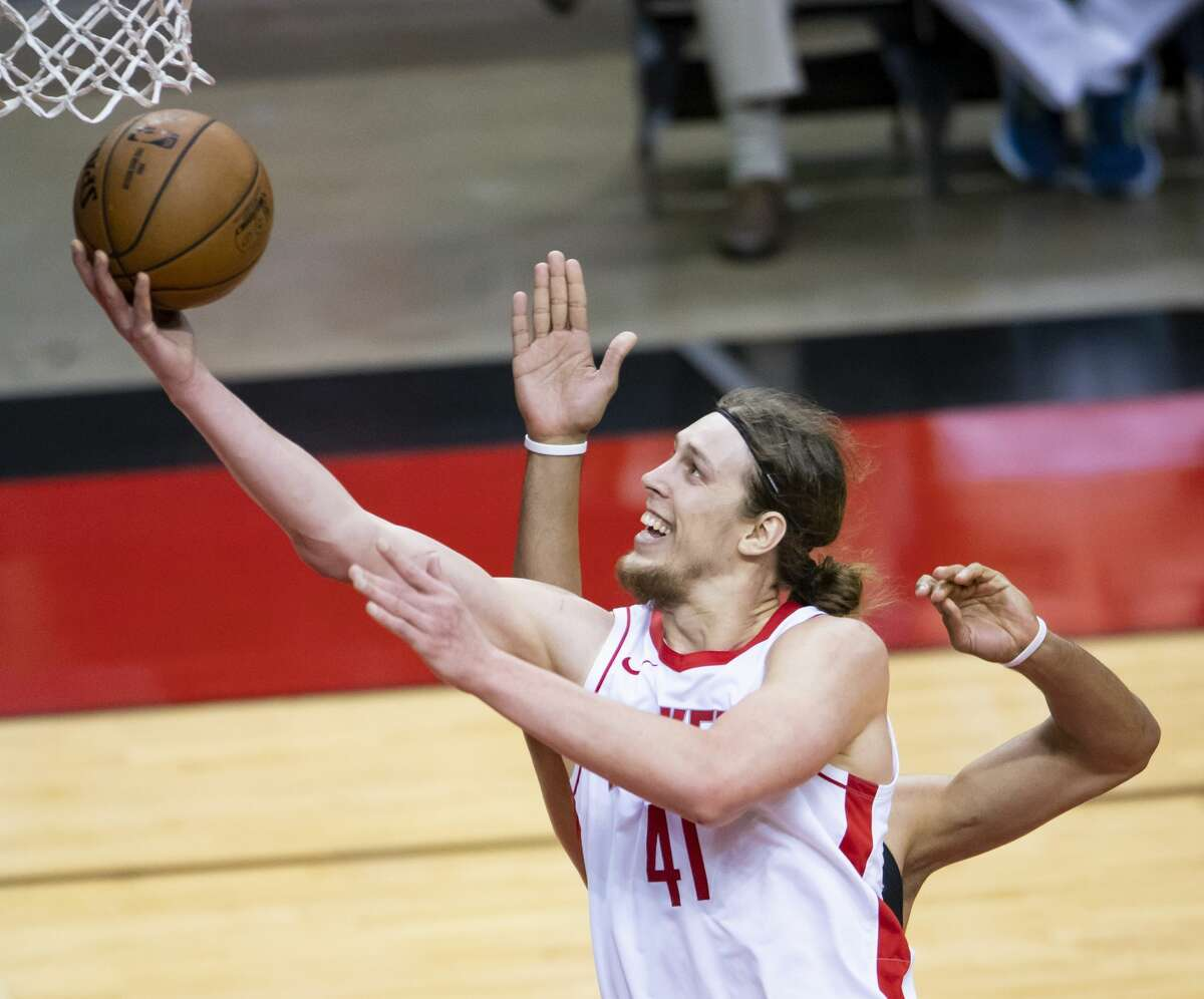 Houston Rockets forward Kelly Olynyk (41) drives during the third quarter of an NBA game between the Houston Rockets and the LA Clippers on Friday, May 14, 2021, at Toyota Center in Houston.