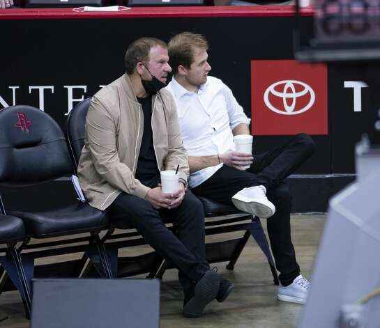 Houston Rockets owner Tilman Fertitta and his son, Patrick, watch during the third quarter of an NBA game between the Houston Rockets and the LA Clippers on Friday, May 14, 2021, at Toyota Center in Houston. Photo: Mark Mulligan/Staff Photographer / © 2021 Mark Mulligan / Houston Chronicle