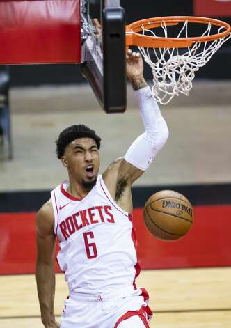 Houston Rockets forward Kenyon Martin Jr. (6) dunks during the third quarter of an NBA game between the Houston Rockets and the LA Clippers on Friday, May 14, 2021, at Toyota Center in Houston. Photo: Mark Mulligan/Staff Photographer / © 2021 Mark Mulligan / Houston Chronicle