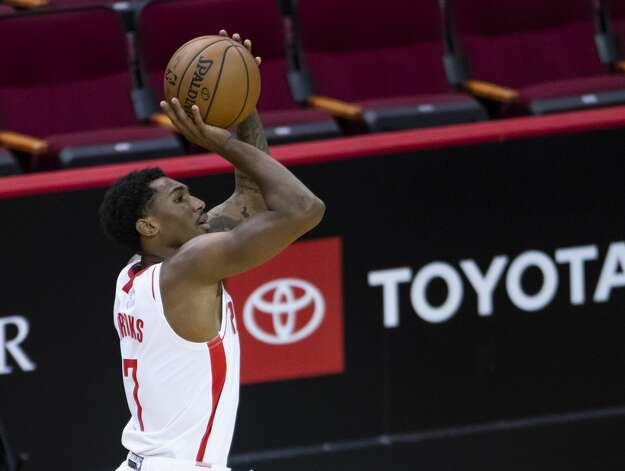 Houston Rockets guard Armoni Brooks (7) shoots a 3-pointer during the first quarter of an NBA game between the Houston Rockets and the LA Clippers on Friday, May 14, 2021, at Toyota Center in Houston. Photo: Mark Mulligan/Staff Photographer / © 2021 Mark Mulligan / Houston Chronicle