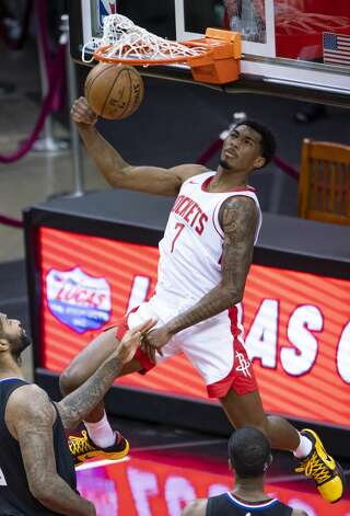 Houston Rockets guard Armoni Brooks (7) dunks during the first quarter of an NBA game between the Houston Rockets and the LA Clippers on Friday, May 14, 2021, at Toyota Center in Houston. Photo: Mark Mulligan/Staff Photographer / © 2021 Mark Mulligan / Houston Chronicle
