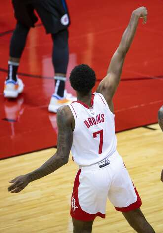 Houston Rockets guard Armoni Brooks (7) hits a 3-pointer during the second quarter of an NBA game between the Houston Rockets and the LA Clippers on Friday, May 14, 2021, at Toyota Center in Houston. Photo: Mark Mulligan/Staff Photographer / © 2021 Mark Mulligan / Houston Chronicle