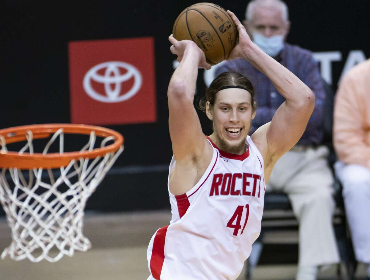 Houston Rockets forward Kelly Olynyk (41) shoots during the fourth quarter of an NBA game between the Houston Rockets and the LA Clippers on Friday, May 14, 2021, at Toyota Center in Houston.