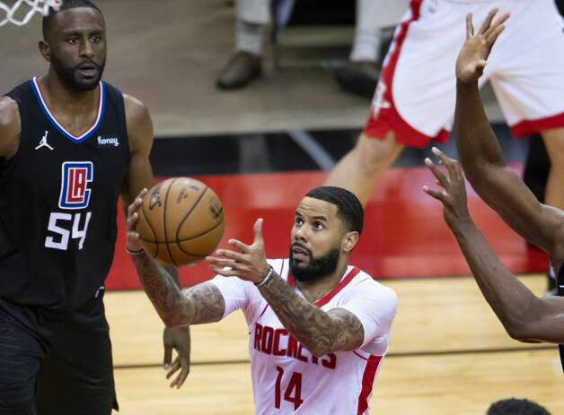 Houston Rockets guard D.J. Augustin (14) shoots during the fourth quarter of an NBA game between the Houston Rockets and the LA Clippers on Friday, May 14, 2021, at Toyota Center in Houston. Photo: Mark Mulligan/Staff Photographer / © 2021 Mark Mulligan / Houston Chronicle