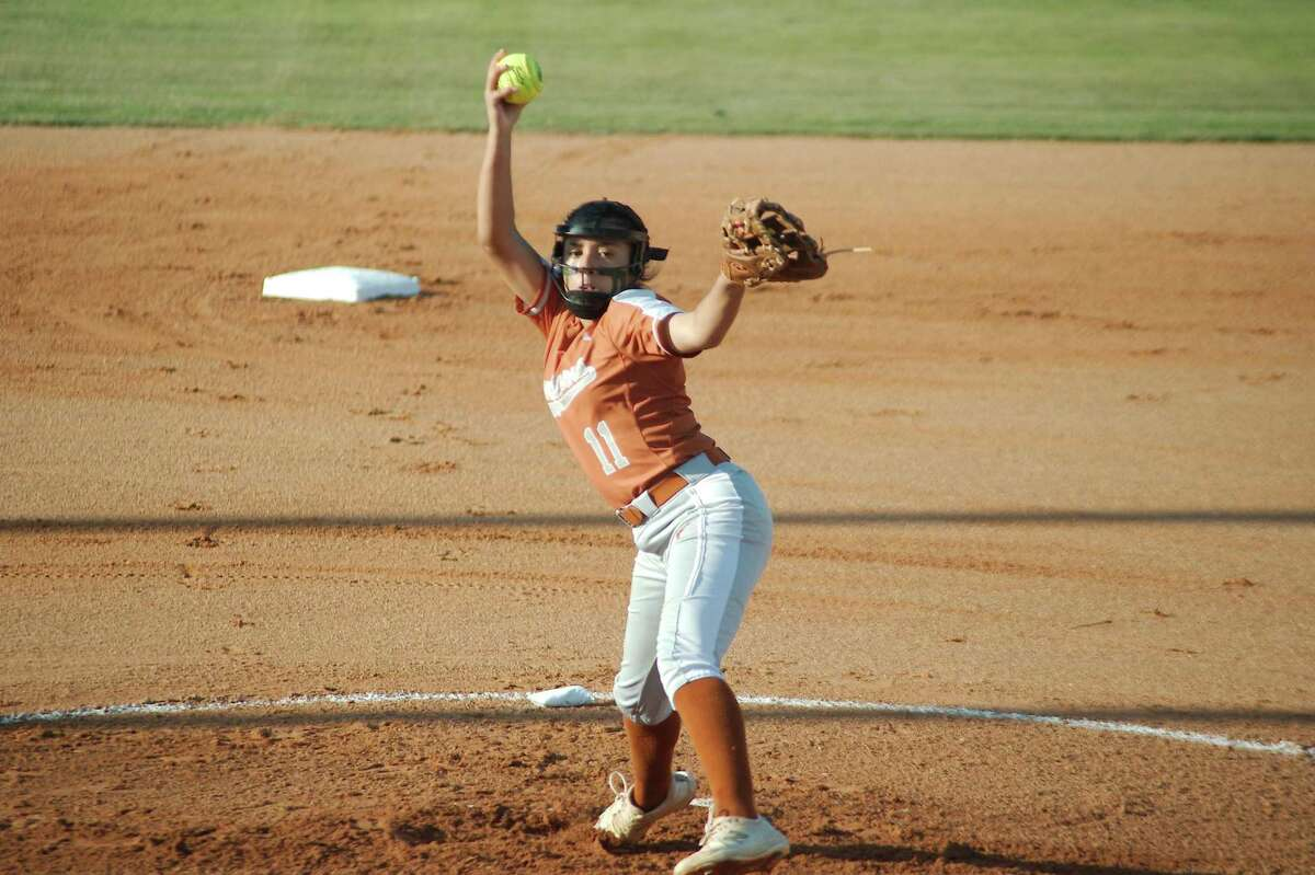 Dobie's Marisa Perla (11) pitches against Clear Springs Friday, May 14 at La Porte High School.