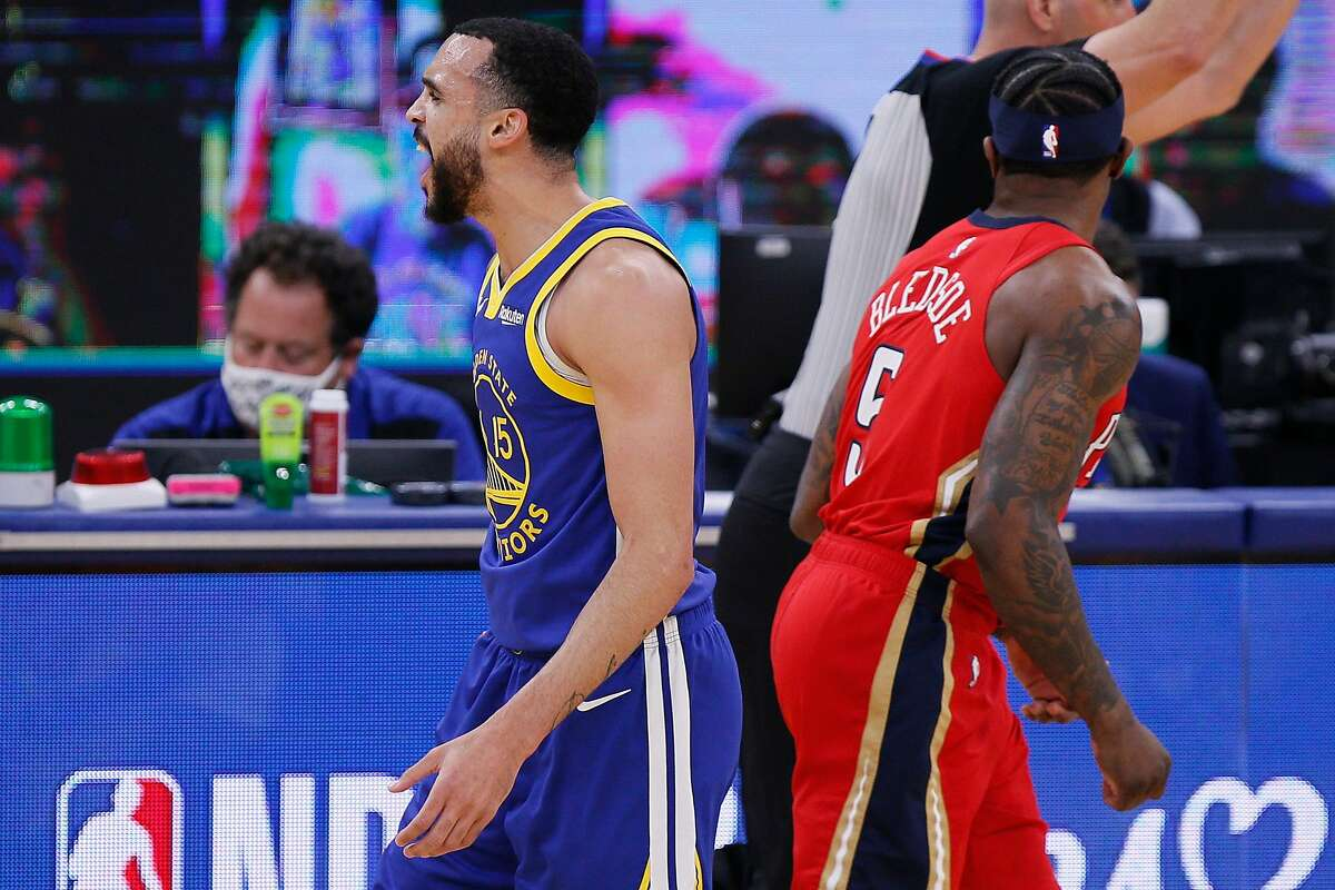 Golden State Warriors guard Mychal Mulder (15) after scoring a three-point shot in the first quarter of an NBA game against the New Orleans Pelicans at Chase Center, Friday, May 14, 2021, in San Francisco, Calif.