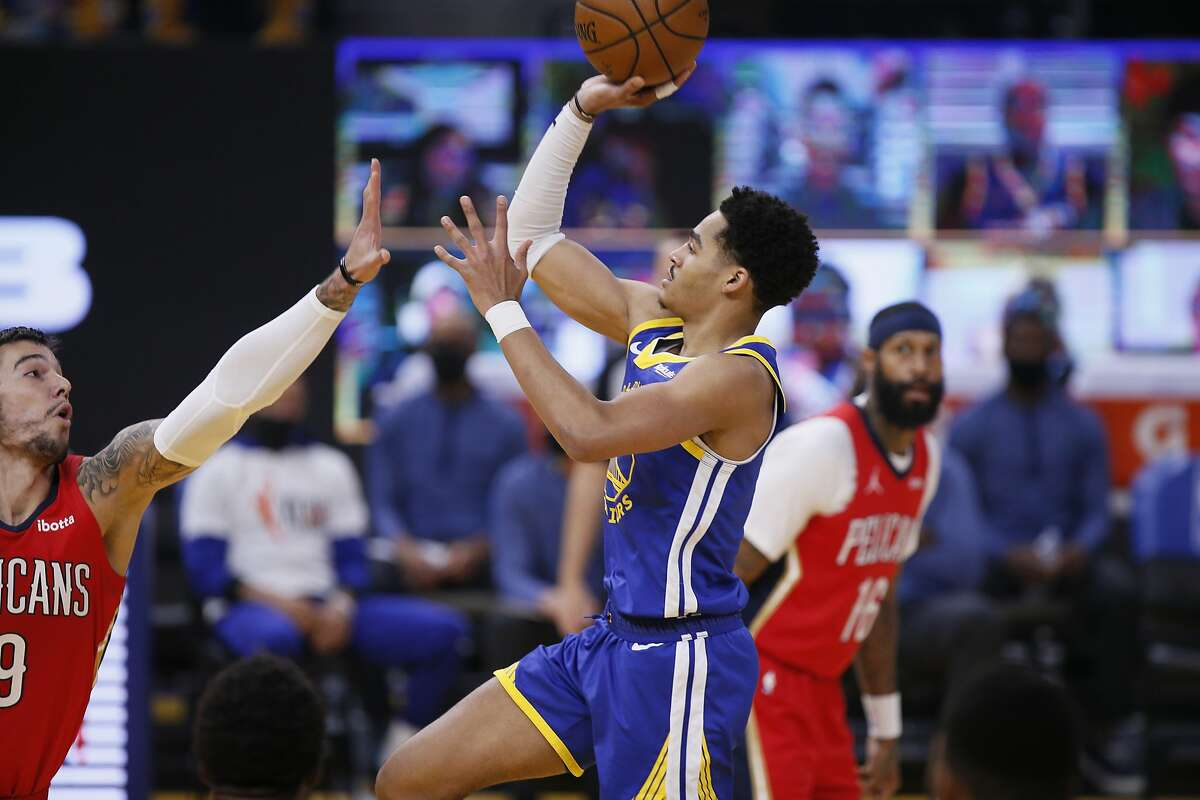 Golden State Warriors guard Jordan Poole (3) in the first quarter of an NBA game against the New Orleans Pelicans at Chase Center, Friday, May 14, 2021, in San Francisco, Calif.