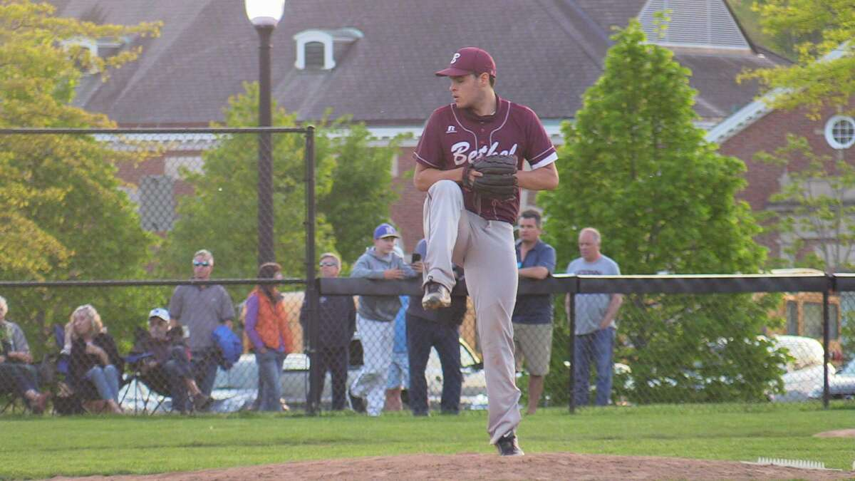 Bethel High School's Daniel Rodriguez pitches against Newtown during a baseball game on Friday, May 14, 2021 in Newtown, Conn.