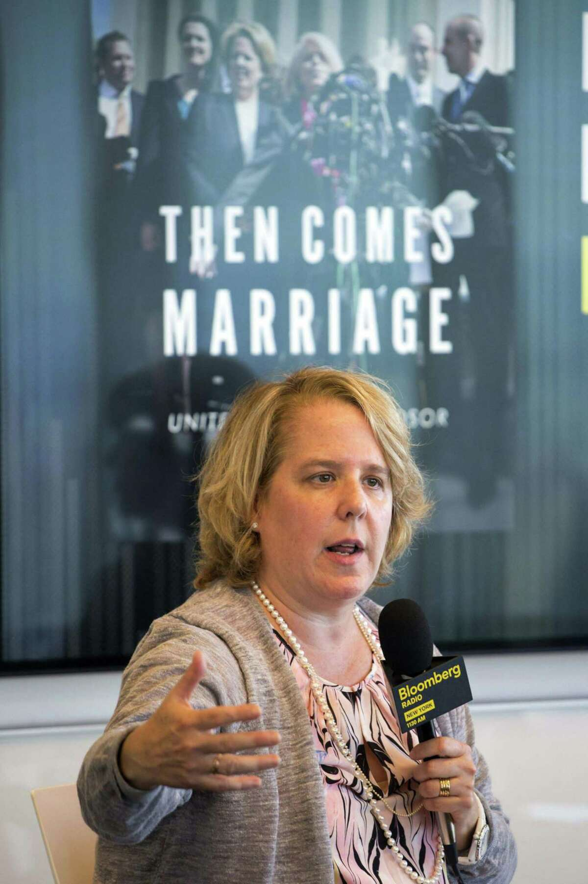 Attorney Roberta Kaplan speaks during a Bloomberg Radio interview in New York on Sept. 16, 2015.