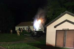 The Middlefield Volunteer Fire Company responded to a fire at a home in town Saturday, May 15, 2021.