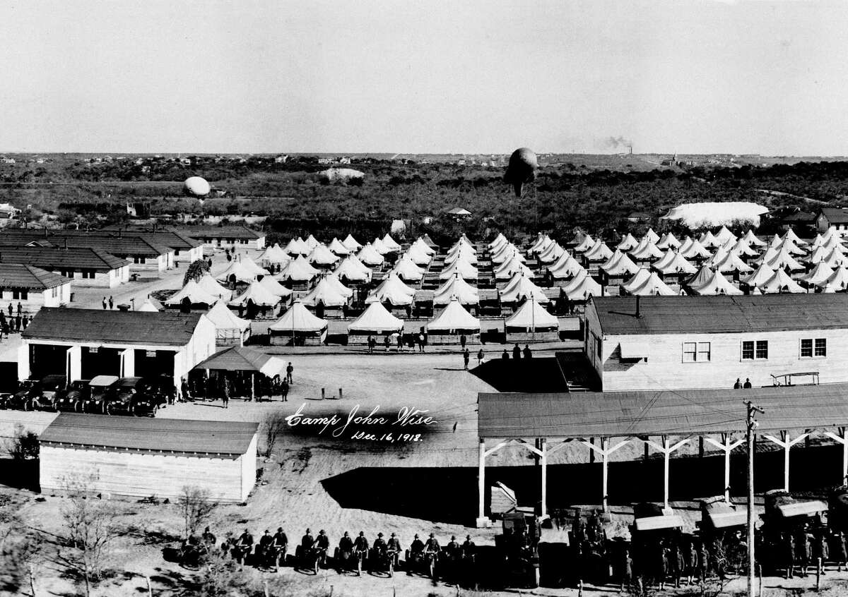 """The Army operated an artillery observation balloon school during World War I on this 261-acre site in Olmos Park. """"Balloonton,: as it was nicknamed, operated from January 1918 to March 1919, training a total of around 4,000 observers and ground crew."""
