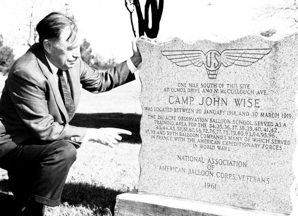 A historical marker for Camp John Wise was installed in 1961 near the corner of McCullough Avenue and East Contour Drive. Pictured with the 3-foot granite monument is Edmond Felt, who served at the camp.