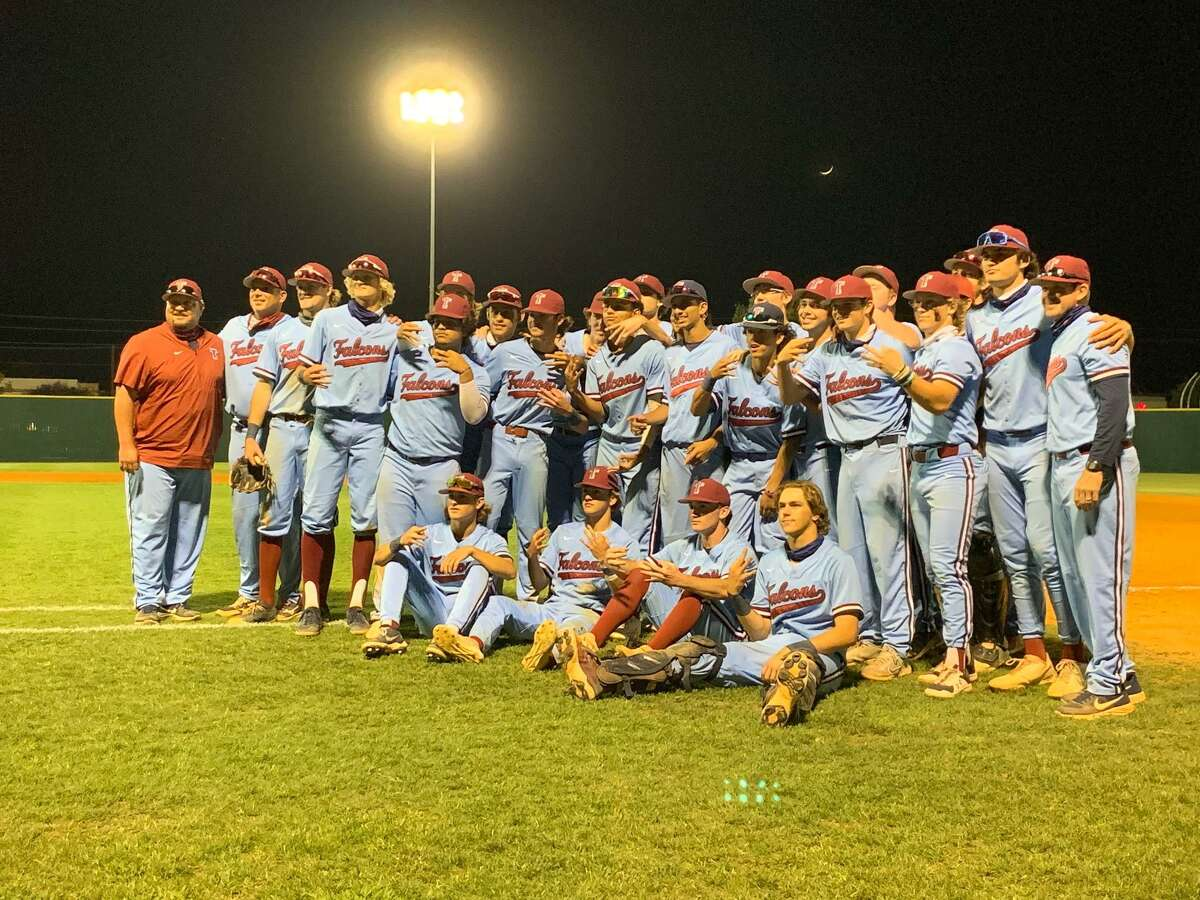 The Tompkins baseball team celebrates its 10-6 victory May 14 at Stratford High School, wrapping up a three-game area playoff series victory.
