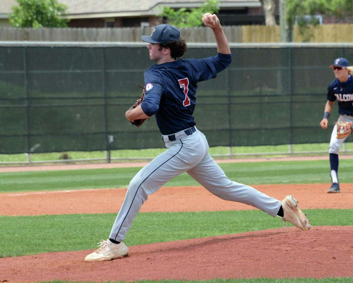 Michael De Battista (7) of Tompkins delivers a pitch during the fifth inning of a 6A Region III bi-district baseball playoff game between the Tompkins Falcons and the Elkins Knights on Saturday, May 8, 2021 at Tompkins HS, Katy, TX.