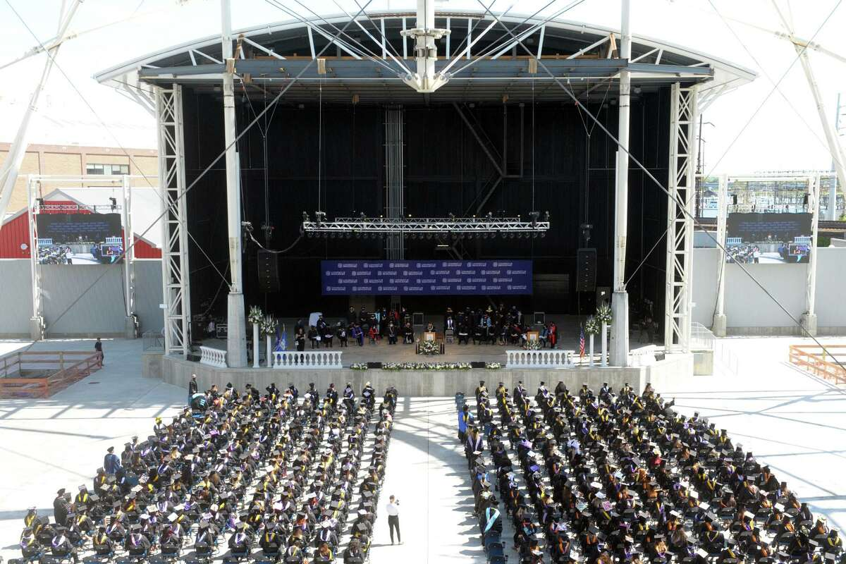Undergraduate commencement for the University of Bridgeport Class of 2021, at the Hartford Healthcare Amphitheater in Bridgeport, Conn. May 15, 2021.