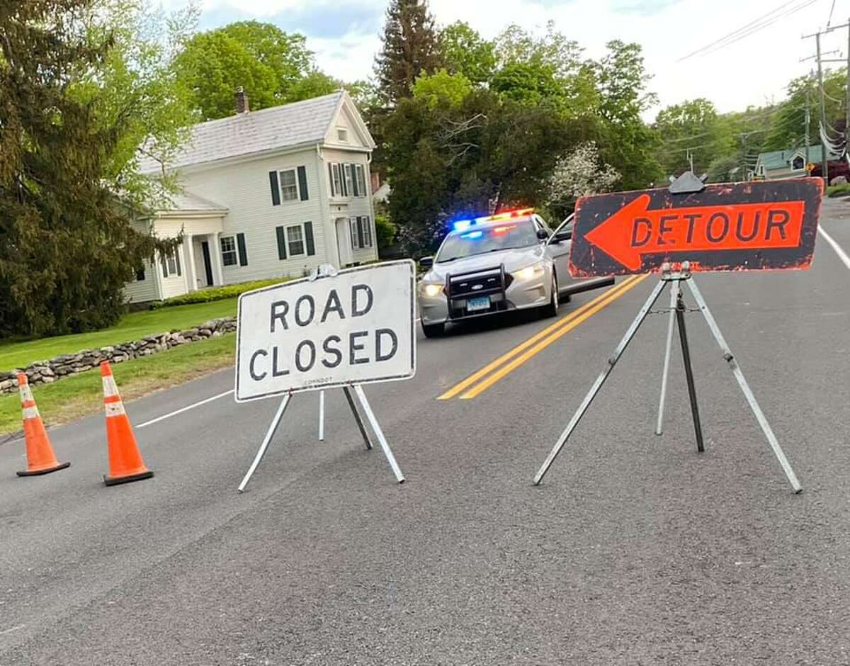 The stretch of Route 44 between Church Street and Wickett Street was closed the morning of May 15, 2021 after a car versus a telephone pole car accident.