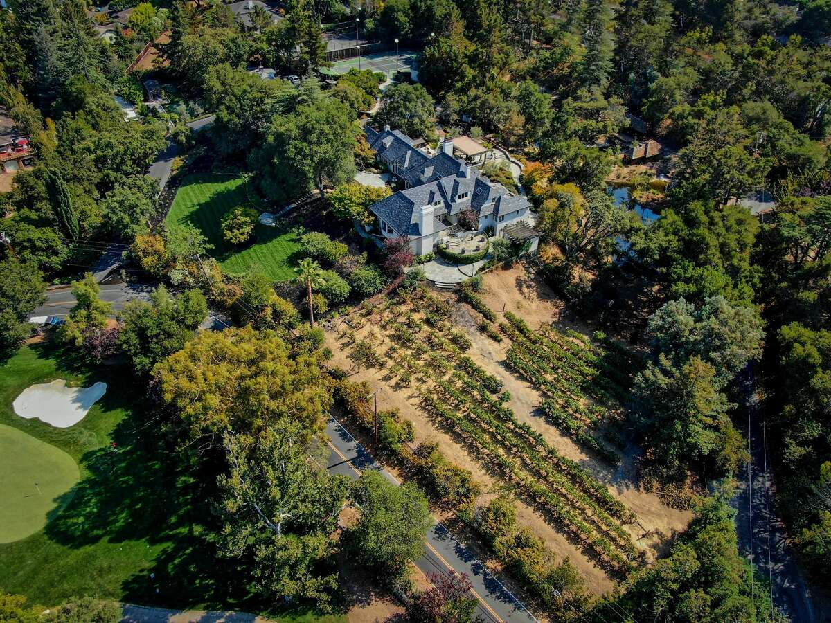 From this angle, you can view features like the bocce court and Merlot grape-producing vineyard.