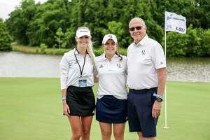 Quinnipiac women's golf coaches John O'Connor and Julia Kemmling with Bobcats senior Elena Ybarra. Ybarra was the only senior set to compete for Quinnipiac in the NCAA regionals.