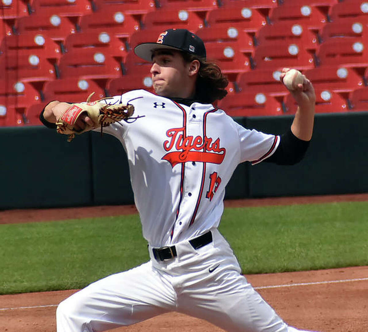 Edwardsville pitcher Conrad Heppler, shown throwing in a game at Busch Stadium in St. Louis earlier this season, picked up the win as the first of seven Tigers pitchers to throw Friday in a win over CM at the Bethalto Sports Complex.