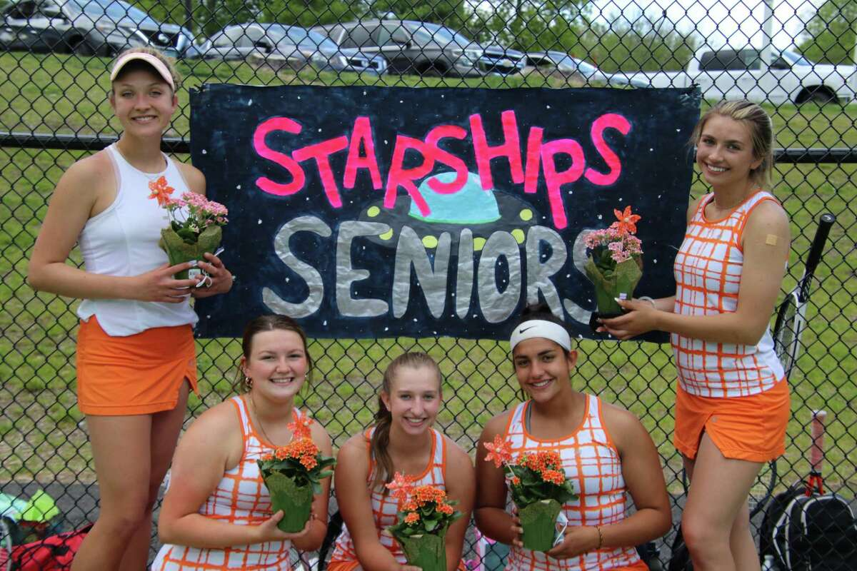 Nell Komorowski, Claire Foley, Carolyn Maher, Jessica Jayakar and Kassidy Wojtowicz were honored on Senior Day by Shelton tennis coach Michelle Sedlock and teammates.