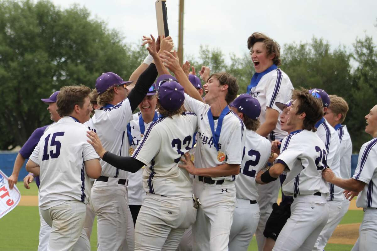 Midland Classical ballplayers hoist the TAPPS Division IV state championship trophy in celebration after they rallied to beat TomballRosehill Christian, 5-4, in Saturday's state title game in Waco. Photo by Callie Doke/Courtesy photo