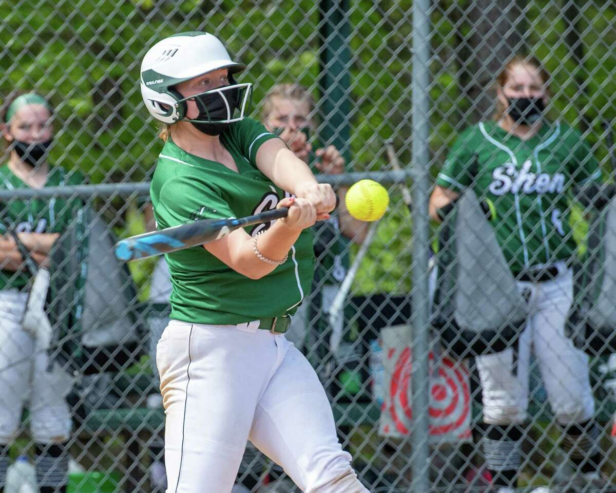 Shenendehowa outfielder Kelsey Higgins connects against Colonie during a Suburban Council matchup at the Lisha Kill Sports Complex in Colonie, NY, on Saturday, May 15, 2021 (Jim Franco/Special to the Times Union)