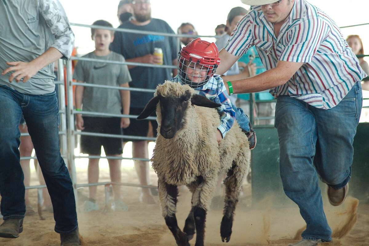 Kenny Sharpless participates in the Mutton Bustin event at the Pasadena Strawberry Festival Saturday, May 14.